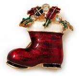Avalaya Christmas Stocking Brooch In Plated Metal - 40mm L