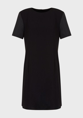 Emporio Armani Techno Cady Crepe Dress With Duchesse Satin Sleeves