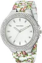 Vernier Women's VNR11167WT Rhinestone-Accented Silver-Tone Watch