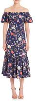 Rebecca Taylor Off-the-Shoulder Tapestry Garden Midi Dress