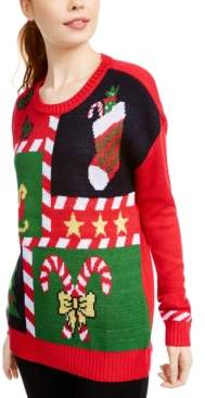 Ultra Flirt Juniors' Candy Cane Sweater