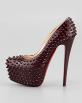 Christian Louboutin Daffodile Spiked Platform Red Sole Pump, Rouge Noir