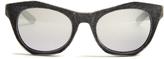 Italia Independent Velvet-coated mirrored cat-eye sunglasses