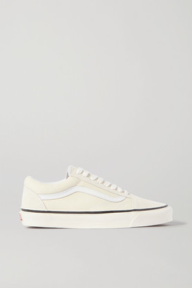 Vans Og Old Skool Lx Leather-trimmed Canvas And Suede Sneakers - White
