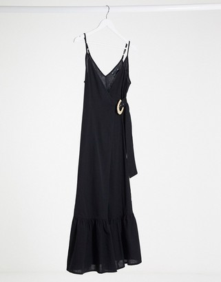 ASOS DESIGN cami wrap maxi dress in linen with wicker belt in black