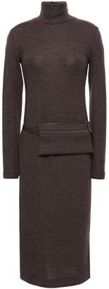 Brunello Cucinelli Melange Wool-blend Turtleneck Midi Dress
