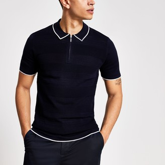 River Island Mens Navy slim fit half zip knitted polo shirt