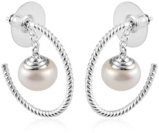 Shop Lc 925 Sterling Silver Fresh Water Pearl Charm Hoops Hoop Earrings