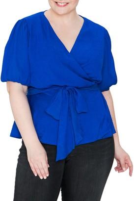A.Calin Surplice Bubble Sleeve Wrap Top (Plus Size)