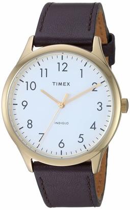 Timex Men's TW2T71600 Modern Easy Reader 40mm Brown/Gold/White Genuine Leather Strap Watch