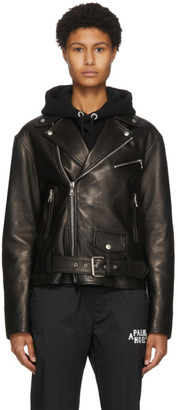 Palm Angels Black Leather Perfecto Logo Jacket