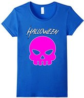 Women's Emoji Halloween Shirt for Women & Teen Girls: Pink Skull Tee Large