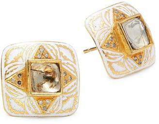 Artisan 22K Yellow Gold & Diamond Square-Shaped Earrings