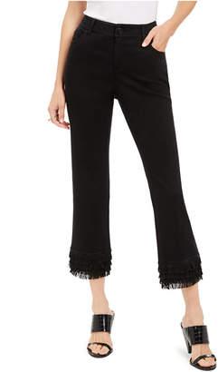 INC International Concepts I.n.c. Fringe-Hem Straight-Leg Ankle Jeans