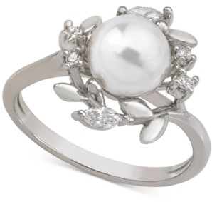 Majorica Sterling Silver Cubic Zirconia & Imitation Pearl Ring