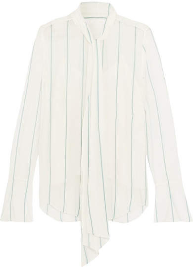 Chloé Pussy-bow Pinstriped Silk-blend Georgette Blouse