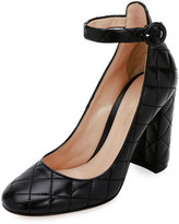 Gianvito Rossi Quilted Ankle-Wrap 100mm Pump, Black