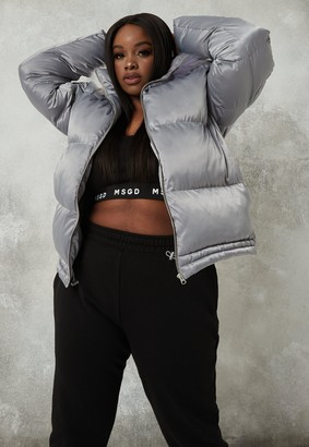 Missguided Plus Size Silver Faux Fur Hooded Coat