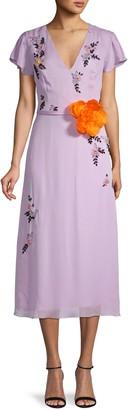 Carolina Herrera Embellished Silk Midi Dress