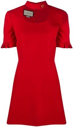 Gucci Neck-Strap Ruffled Mini Dress