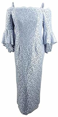 R & M Richards R&M Richards Women's one Piece Long Laced Off The Shoulder Fitted Dress