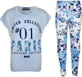 a2z4kids Kids Girls Floral Print Trendy Top & Stylish Fashion Legging Set Age 7-13 Years