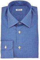 Kiton Saturated Micro-Check Long-Sleeve Dress Shirt, Navy