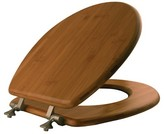 Mayfair Round Bamboo Seat with Brushed Nickel Hinge Toilet Seat - Dark Bamboo