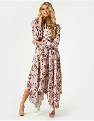 Little Mistress Elon Mink Floral-Print Satin Hanky-Hem Midaxi Dress