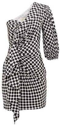 Alexandre Vauthier Polka-dot One-sleeve Silk-blend Dress - White Black