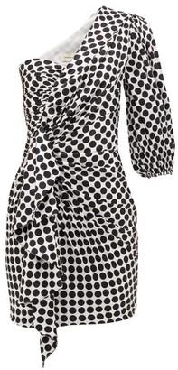Alexandre Vauthier Polka-dot One-sleeve Silk-blend Dress - Womens - White Black