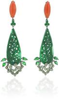 Wendy Yue 18K Green Jade and Coral Earrings