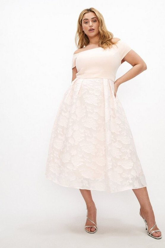 Thumbnail for your product : Coast Curve Bardot Neck Embroidered Midi Dress