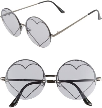 Rad + Refined Glitter Heart Round Sunglasses