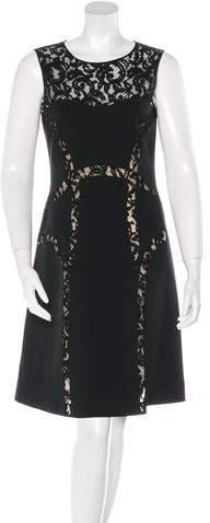 Alberta Ferretti Lace-Trimmed Knee-Length Dress w/ Tags