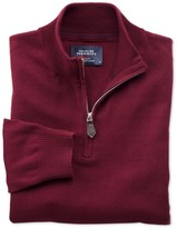 Charles Tyrwhitt Burgundy cotton cashmere zip neck sweater