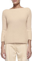 Michael Kors Shaker-Knit Cashmere Boat-Neck Sweater