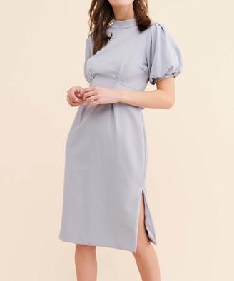 CAARA Women's Casual Dresses GRY - Gray Fritz Puff-Sleeve Empire-Waist Dress - Women