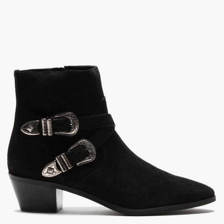 Daniel Elder Black Suede Western Ankle Boots