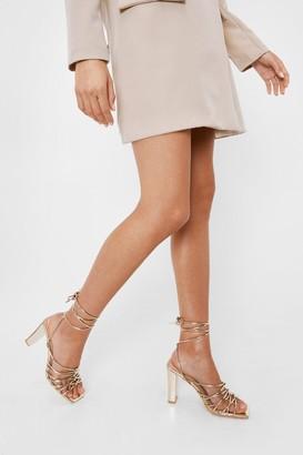 Nasty Gal Womens Faux Leather Tie Heeled Sandals - Metallics - 5, Metallics