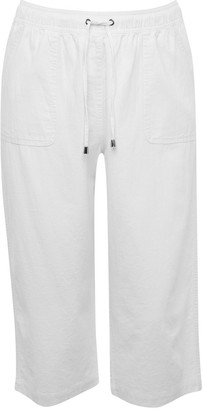 M&Co Plus cropped linen trousers