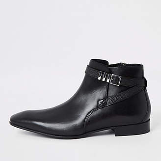River Island Black leather pointed toe buckle boot