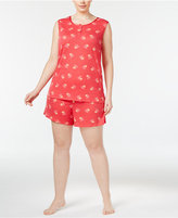 Charter Club Plus Size Tank Top And Boxer Shorts Printed Pajama Set, Only at Macy's