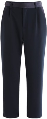 Paisie Elle Contrast Belt Trousers In Navy
