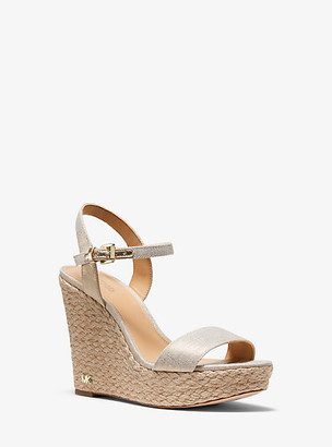 Michael Kors Jill Metallic Linen Wedge