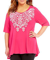 Multiples Plus Elbow Sleeve Accent Lace Printed Knit Top