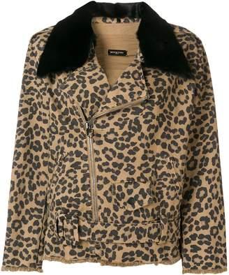Simonetta Ravizza leopard print denim jacket