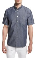 Rag & Bone Standard Issue Woven Short-Sleeve Shirt, Indigo