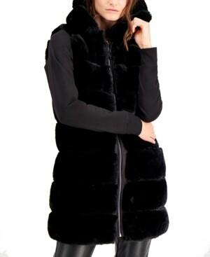 Via Spiga Grooved Hooded Faux-Fur Vest