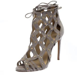 Alexandre Birman Grey Suede Leather Loreta Cage Ankle Wrap Sandals Size 39.5